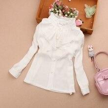 Весенне-осенняя белая блузка для девочек-подростков Топы с кружевным бантом для девочек, детская рубашка в клетку рубашки с длинными рукавами детская одежда