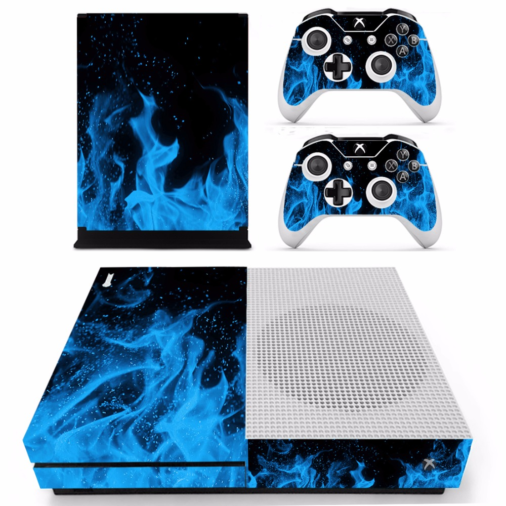 Homereally for xbox one s skin blue skull flame custom sticker cover for xbox one slim console skin and 2 controller accessory