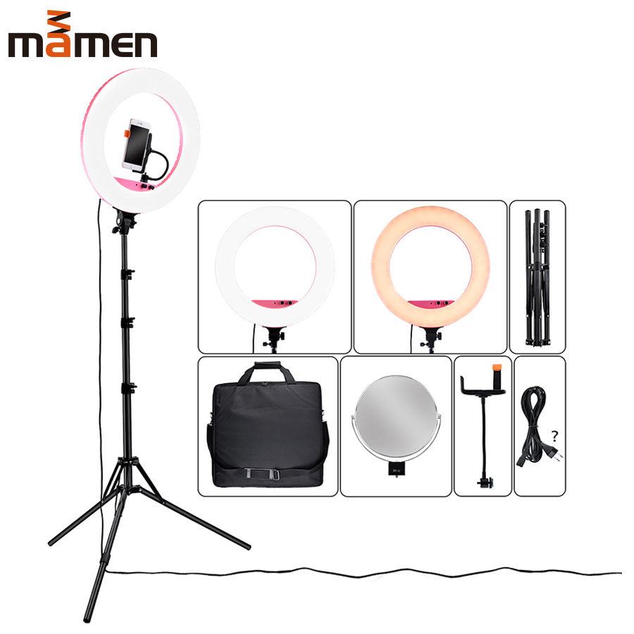 Mamen Dimmable Round Lamp LED Selfie Ring Light 80W 5500K Camera Phone Photography Video Makeup With Tripod Clip