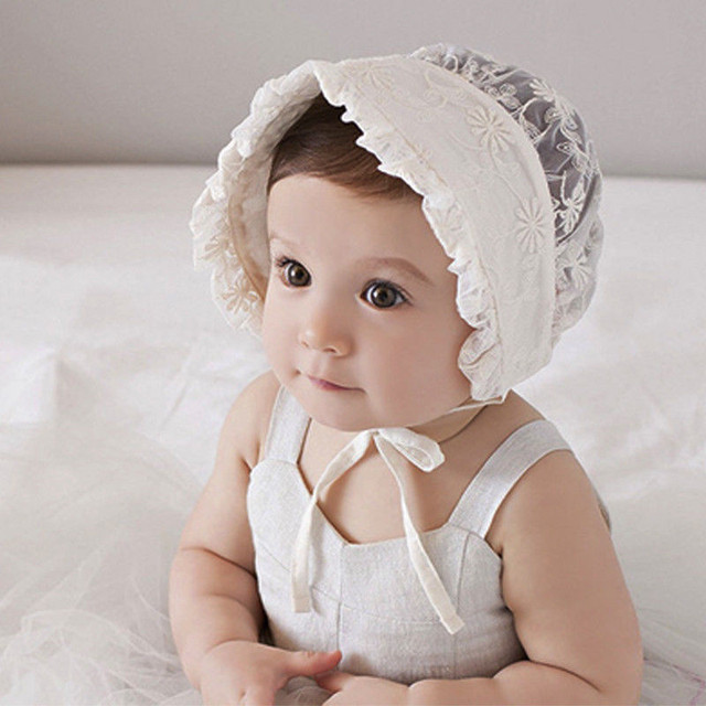 3ddf19ced8c Baby Lace Hats Caps Lovely Girl Lace Infant Baby Newborn Kids Flower Beanie  Bonnet Headdress Hat for 3-24 months