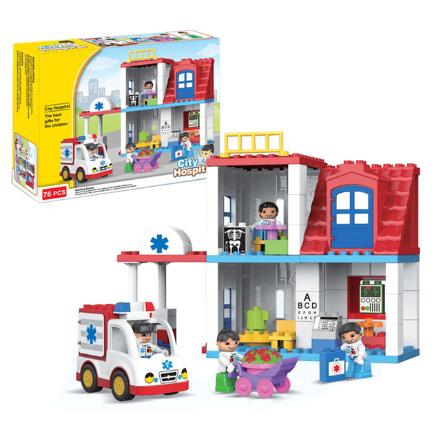 120 76pcs Hospital Theme Big Bricks Duplo Building Blocks