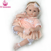 UCanaan Silicone Baby Doll Reborn Soft Handmade 45cm Dolls Newborn Baby Alive Realistic Born Fashion Toys For Kids Birthday Gift