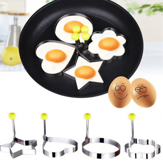 4 Shape Stainless steel form for frying eggs tools omelette mould egg pancake ring egg shaped kitchen appliances Cooking Tools