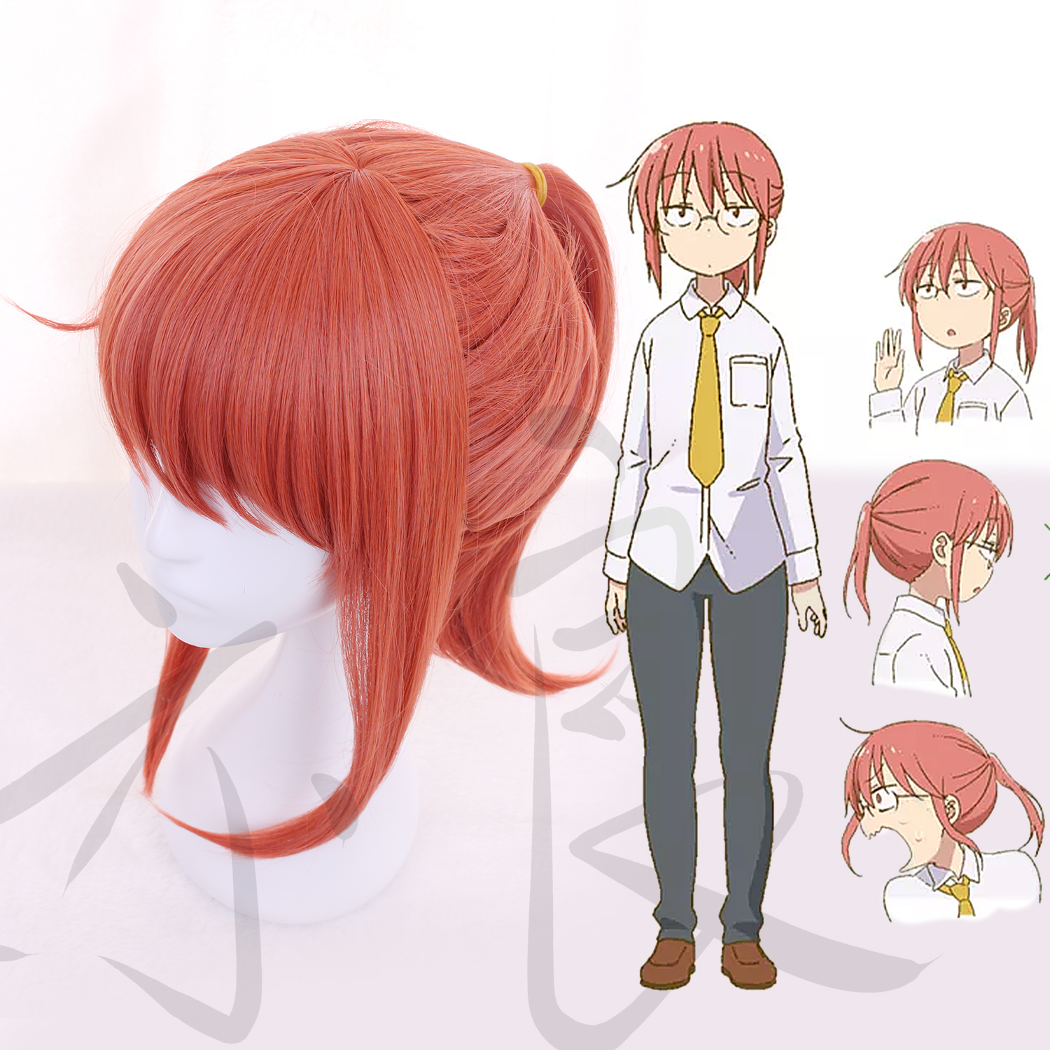 Kobayashi-san-Chi-no-Maid-Dragon Kobayashi Watermelon Red Ponytail Wig with hair net costumes