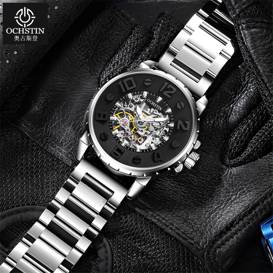 2019 NEW Men Watches Automatic Mechanical Watch Male Clock Full Steel Fashion Skeleton Clock Top Brand