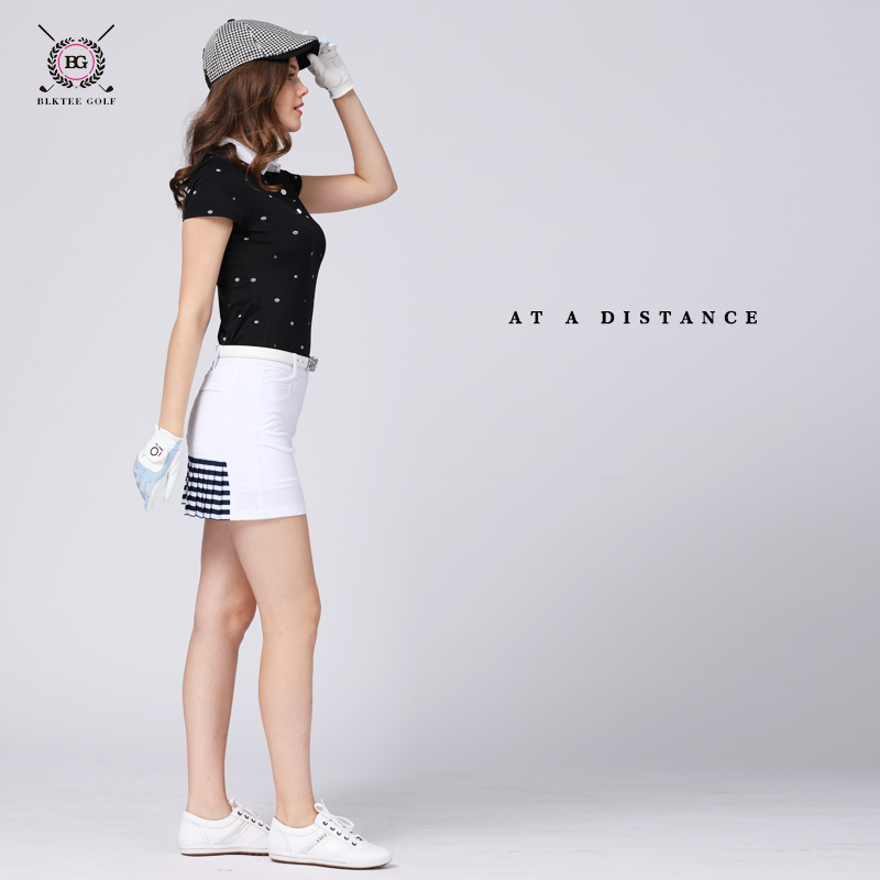 Bg lady golf skirts girl anti emptied shorts inside skirt women's golf sports culottes pleated skirt top design