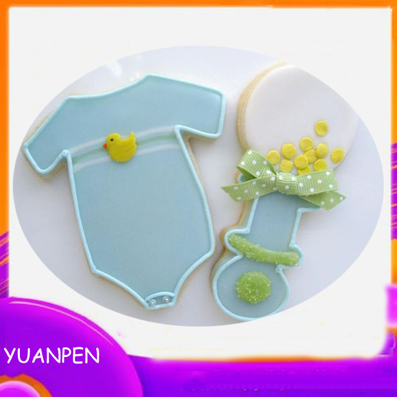 1pcs Baby onesies rattle Stainless Steel Cookie Cutter Cake Decorating Fondant Cutters pastry Baking Tool(China)