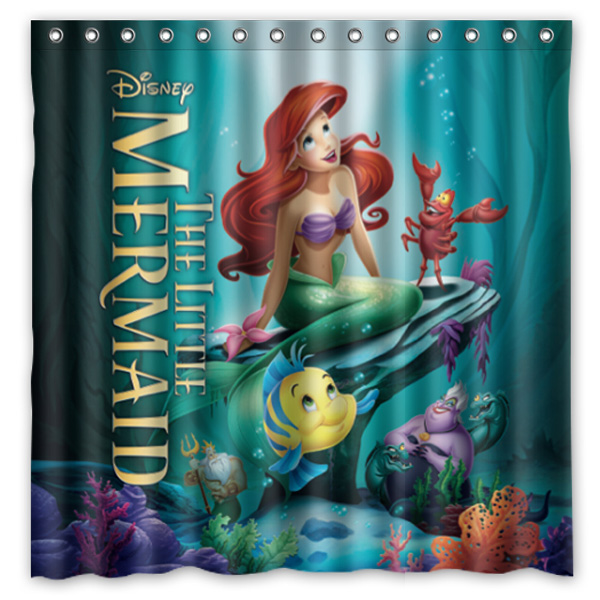 High Quality Polyester Shower Curtain Little Mermaid Modern Design  Waterproof Fabric Curtains For Bathroom 72*