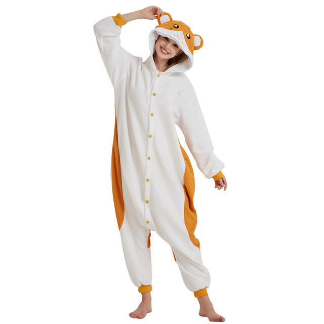 125bf468ba4 Hamtaro Kigurumi Cartoon Onesie Fleece Mouse Cosplay Costume Animal  Sleepwear Pajamas Adult Halloween Carnival Party Jumpsuit