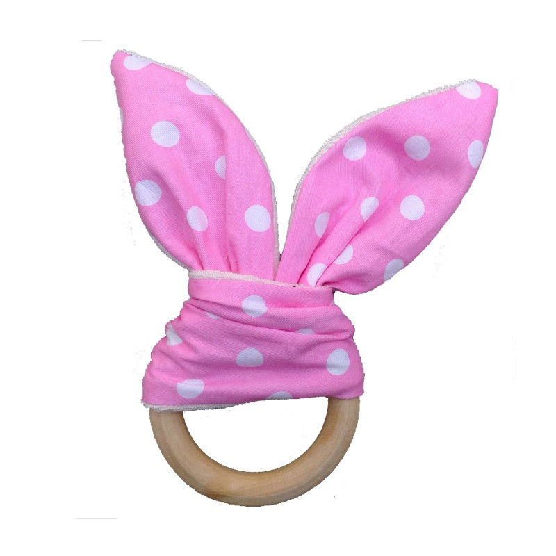 Cute Baby Intelligence Toys Baby Grasping Hand Bell Rattle Toy Soft Little Rabbit Ears Wooden Hand Grasp Rattles Develop