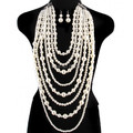 New Style P08 Women Fashion White Imitation Pearls Body Jewelry Layers Pearls Beads Necklace Earrings Body Jewelry
