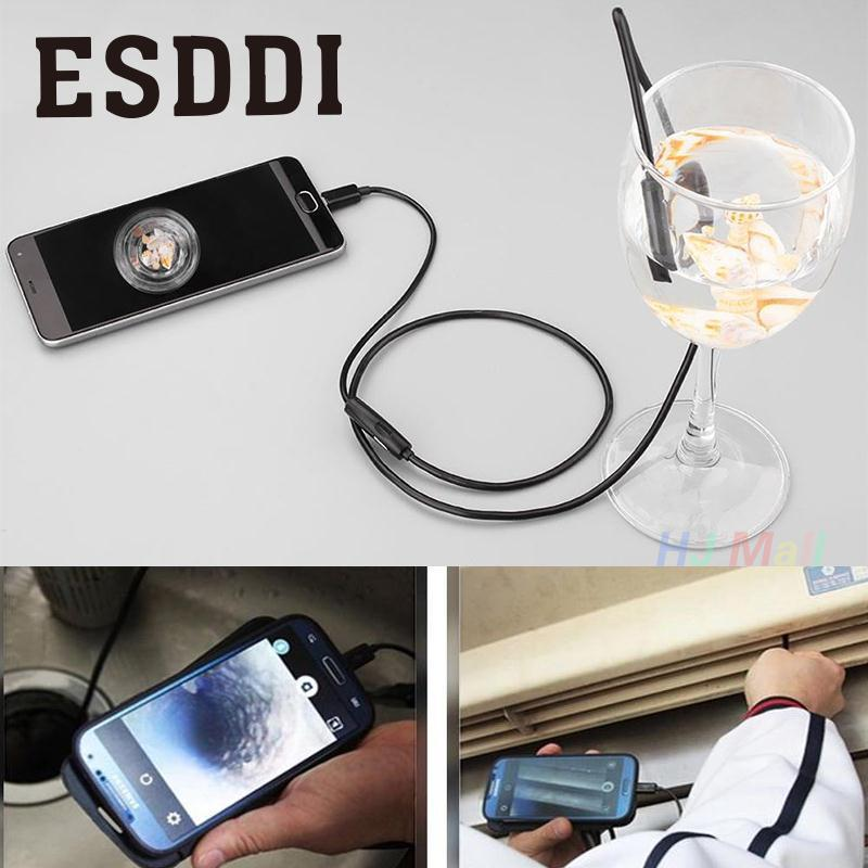 Esddi New 2M 7mm HD 1.3MP PC/Android OTG Phone Endoscope Waterproof Borescope Video Camera Snake Inspection Mini Camcorder Gift