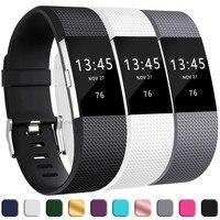 Fitbit-Correa de silicona blanda para reloj inteligente, 3 uds., banda para Fitbit Charge 2, repuesto de banda para Fitbit Charge 2