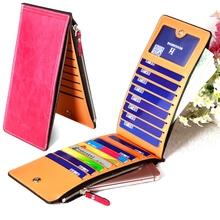 Fashion Women Wallet Thin Long Clutch Wallet PU Leather Purses Double Zippers Silm Female Credit Card Holder Coin Purse THS08