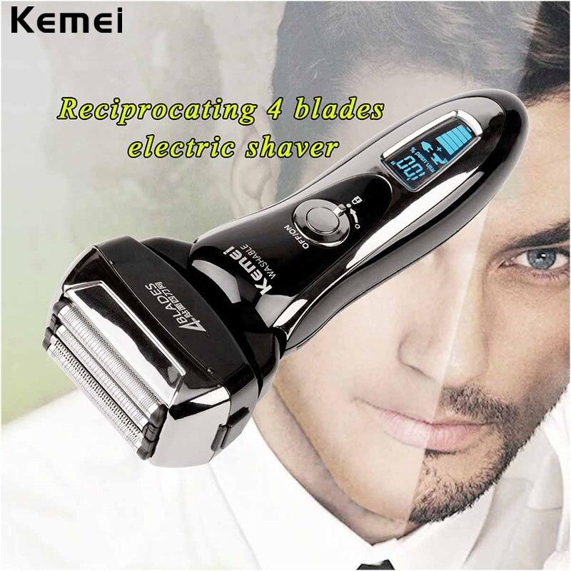 4 лезвия Maglev резки Системы Перезаряжаемые электробритва моющийся поршневые электрическая бритва для Для мужчин лицо борода бритья ЖК-диспл...