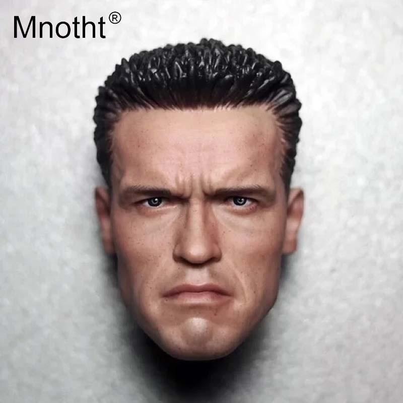 Mnotht 12 Collectible 1/6 Scale Arnold Schwarzenegger Head Sculpt Camouflage Head Carving Model Terminator T800 Head Model m3