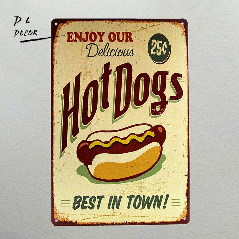 DL-signe de Métal vintage rétro Hot-Dogs le meilleur en ville de fer affiche plaque murale D'étain cadeau