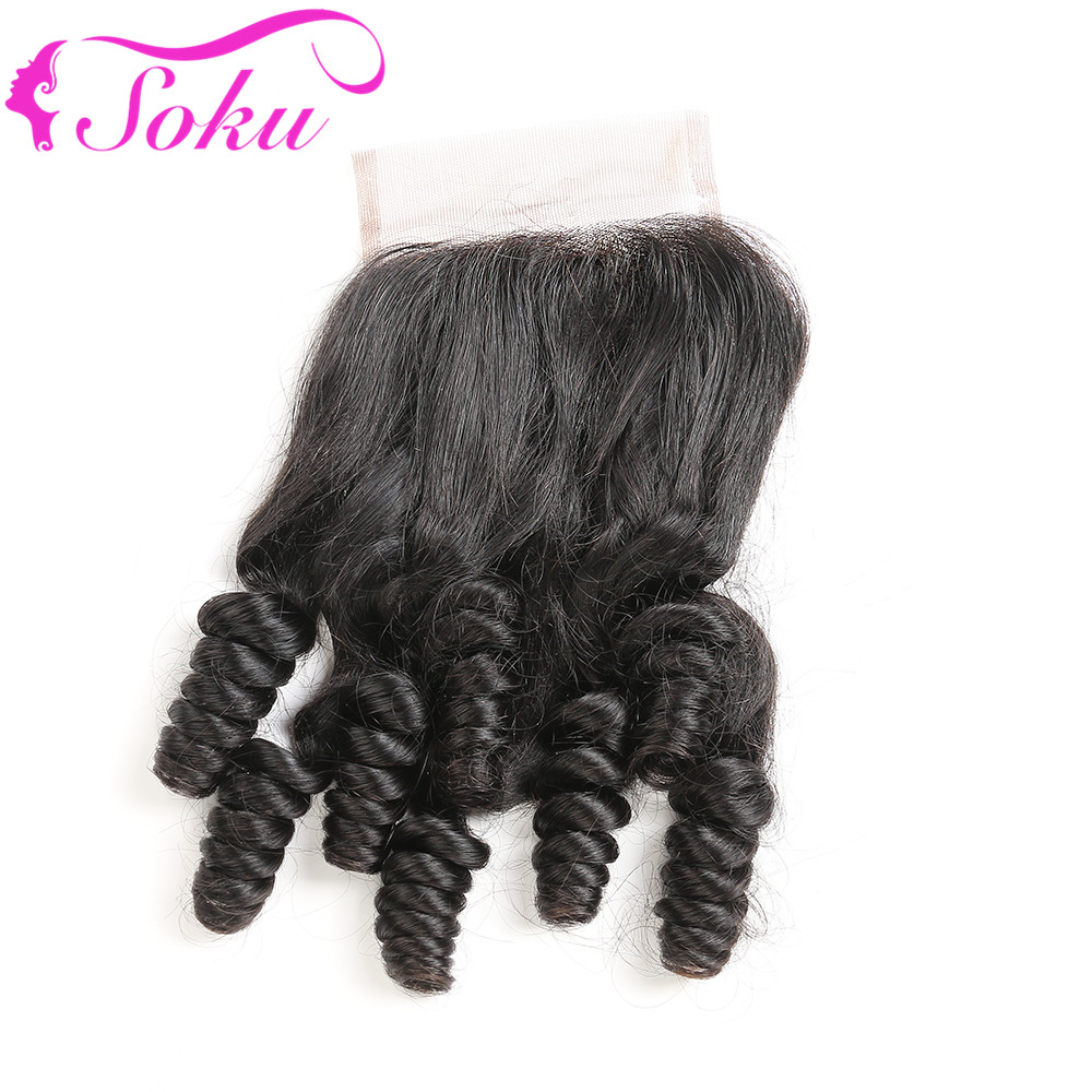Brazilian Hair Swiss Lace Closure 4x4 Funmi Curly Free/Middle Human Hair Closure Natural Color 10-20 Inch Non-Remy SOKU