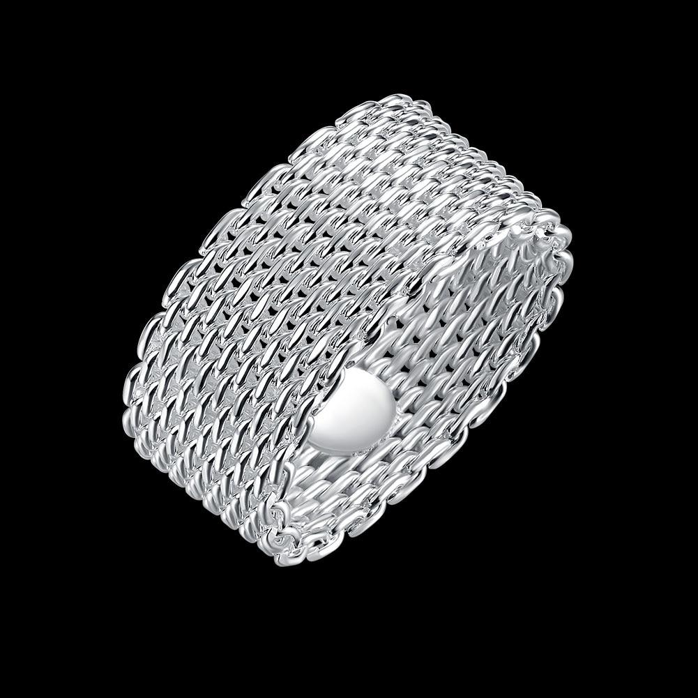 Anello del tessuto placcato argento all'ingrosso libero di trasporto, - Bigiotteria - Fotografia 4