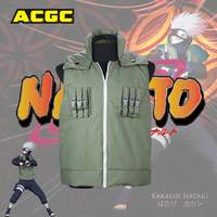 Anime Naruto Cosplay Hatake Kakashi Ninja Green Unisex Vest Jacket Party Purim Carnival Hallow Cosplay Costume