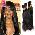 Лучшие Продажи Индийского Человека Плетение Волос Оптом 8A Прямые Волосы объемной Для Плетения 4 шт. Remy Индейца Человеческих Волос Прямой Смешанная длина