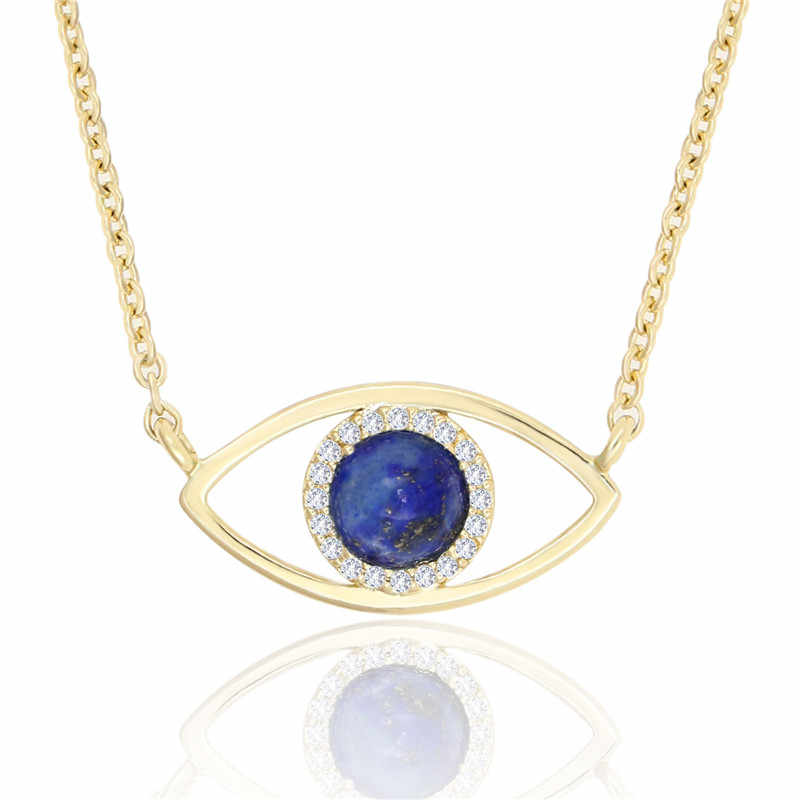 Necklace Women 2019 Fashion Gold Chain Plated CZ Paved Charm Necklace Blue Lapis Lazuli Eye Evil Pendant Necklace for Women