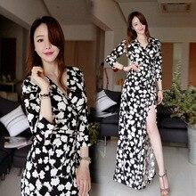 2016 new spring fashion sexy slim slim dress collar V black and white printed seven female dress up
