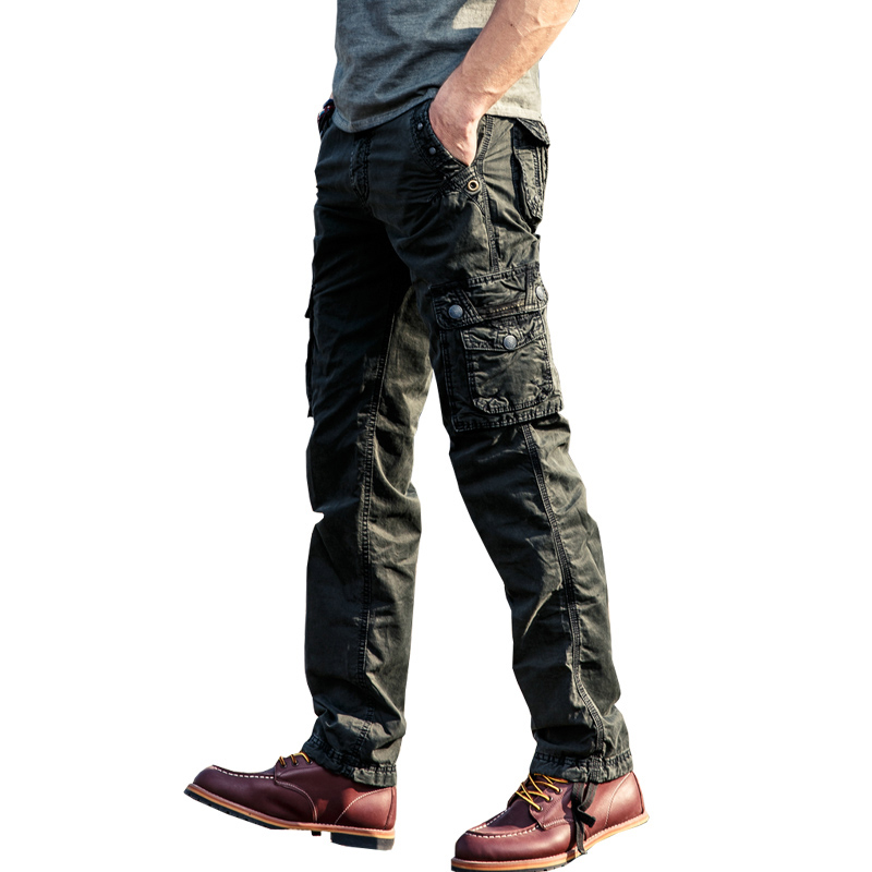 drop shipping men cotton military casual ankle length pants solid comfortable straight trousers 3 colors 28-38 JPCK08