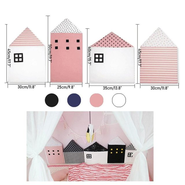 4pcs Baby Bed Bumper Little House Pattern Crib Protection Infant Cot