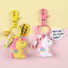 Rainbow Unicorn Keychain for Women Bag Ornament Animal Key Chain Porte Clef keyring Decoration