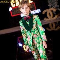 Green print boys suits for weddings kids Blazer Suit for boy costume enfant garcon mariage jogging garcon blazer boys tuxedo