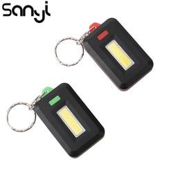 2 Pcs Tragbare Mini COB LED Schlüsselanhänger Taschenlampe 3 Modi Schlüsselring Taschenlampe Licht Lampe Tasche Handliche Notfall Licht Lanterna Verwendung 3 * AAA