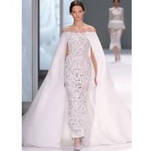 Saudi-arabien Elegante Weiße Abendkleid Bodenlangen spitze formale Weg von der schulter abendkleid mit wrap vestido de Festa
