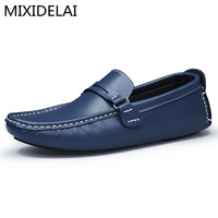 2017 Men Genuine Leather Flats Fashion Men Casual Shoes Moccasins Loafers Quality Drivng Shoes Zapatos Big