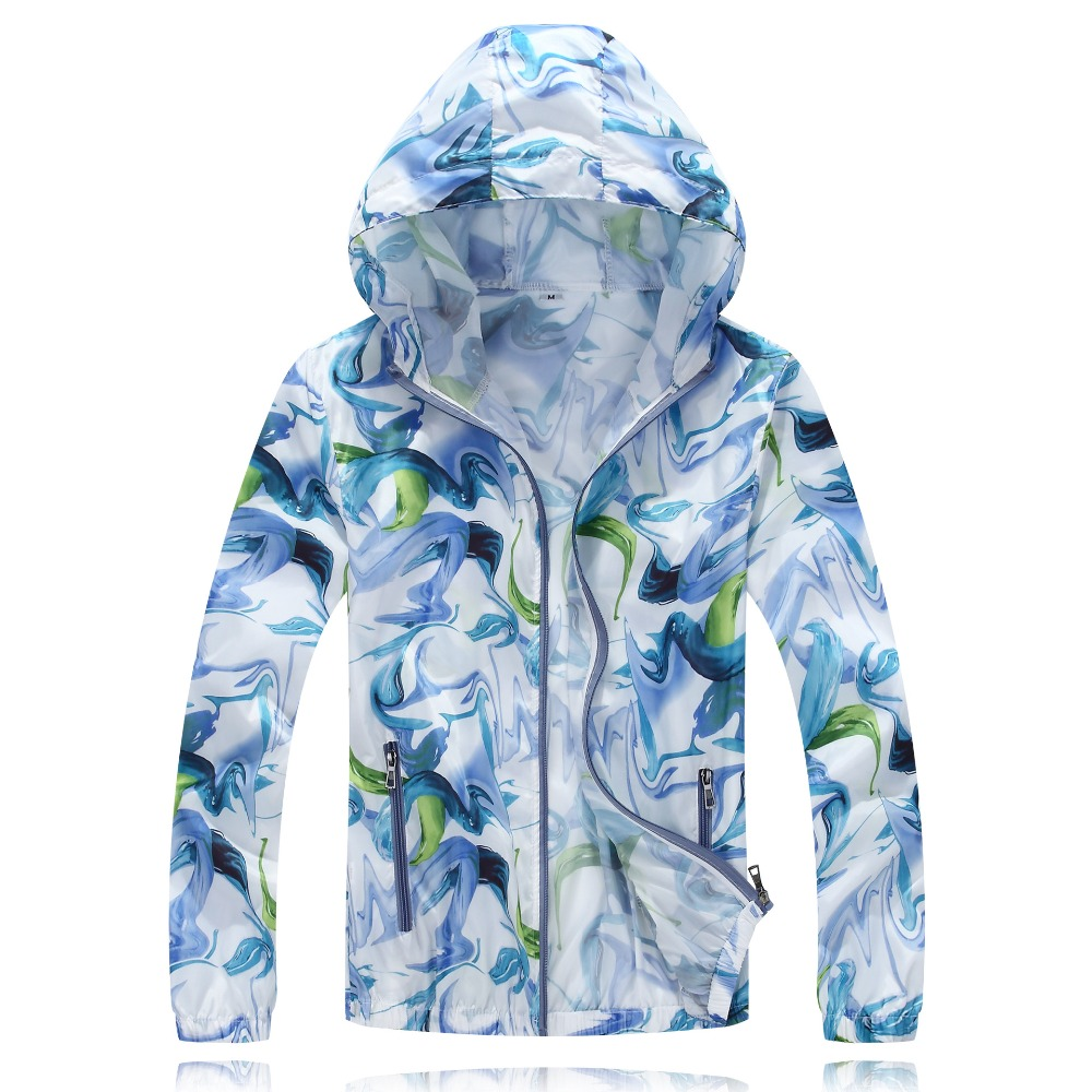 1 Piece Ultrathin Gradient Print Cycling Jackets For unisex Thin Skin Sports Jacket Hooded Cardigan Quick Dry Sun Protection