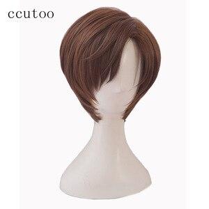"Image 2 - ccutoo Mystic Messenger 707 saeran 12"" Orange Short Fluffy Layered Synthetic Hair ZEN Yoosung Heat Resistance Cosplay Full Wigs"