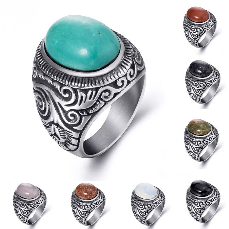 Кольцо из нержавеющей стали для мужчин и женщин, кольцо из натуральной овальной бирюзы черного оникса, оптовая продажа, большие размеры 8-15