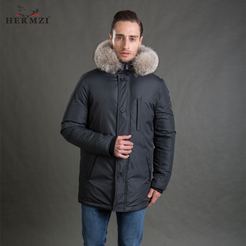 HERMZI 2017 New Men Winter Coat Fashion Jacket Parka Thicken Detachable Hood Raccoon Fur Collar European Size 4XL Free Shipping malidinu brand new 2015 winter mans thicken white duck down jacket coat hood parka european size free shipping fur collar m1399