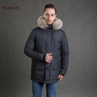 HERMZI 2017 New Men Winter Coat Fashion Jacket Parka Thicken Detachable Hood Raccoon Fur Collar European Size 4XL Free Shipping