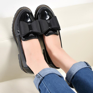 Image 3 - Butterfly Knot Women Flat Shoes Plus Size 42 Round Toe Bright Leather Shoes Woman England Style Spring Luxury Loafers