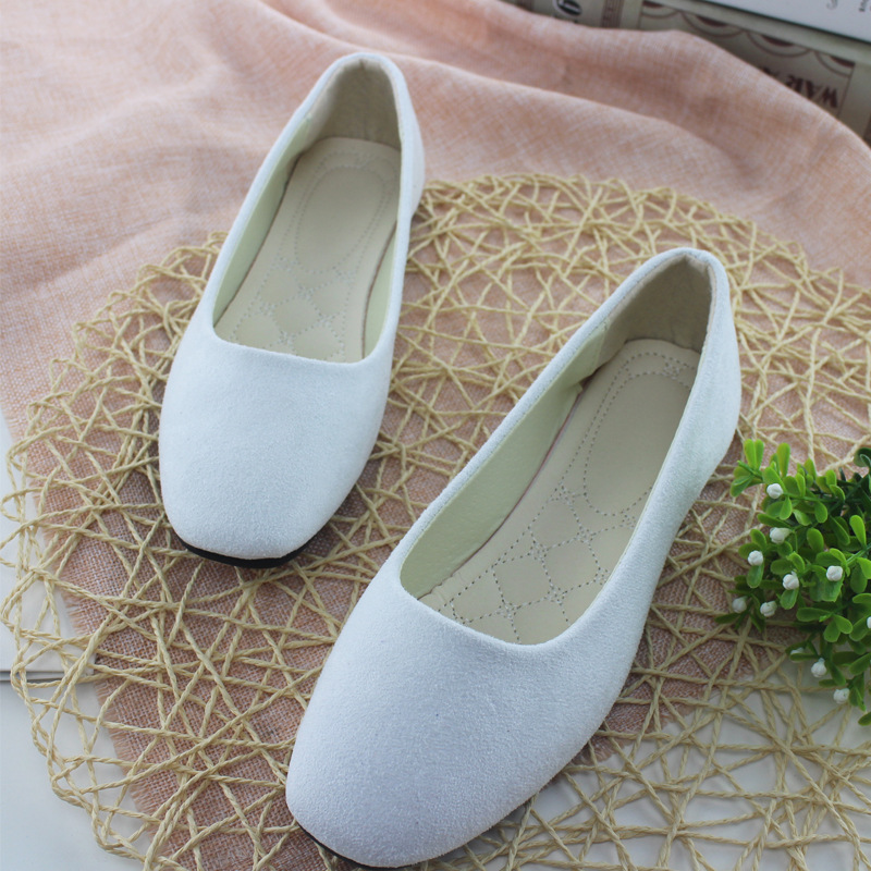 New 2018 XQKZDE Square Toe Casual Outdoor Candy Women Suede CASUAL Work Lady Point Toe Slip Round Shoes Plus Size 208AF43 women linen half sleeve blaser 2017 new elegant casual candy color single button plus size work blazer office jacket pink white