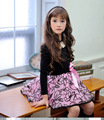 girls dress version of the spring and autumn paragraph flocking yarn girls puff dress flowers long-sleeved dress