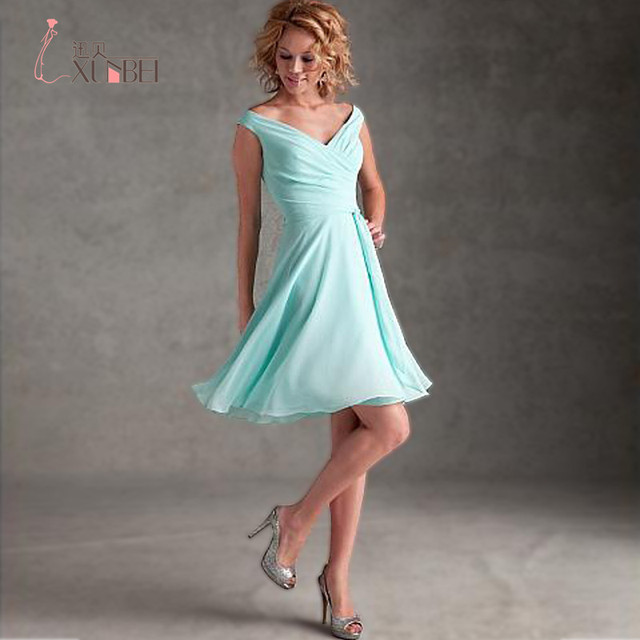 New Arrival Short Ruched Chiffon Bridesmaid Dresses 2017 Baby Blue ...