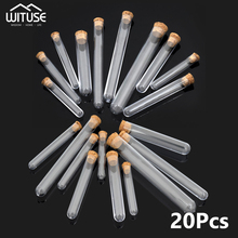 20pcs 15*150mm Transparent Hard plastic test tube with cork round bottom Wedding favours Laboratory Party Decors For Candy Beans