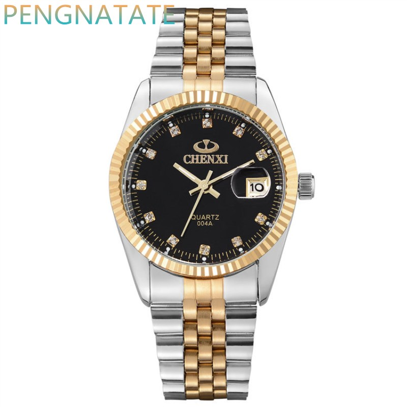NATATE Men Business Fashion Brand CHENXI Men Watch Intermetallic gold Stainless Steel Quartz Wrist Watch Waterproof