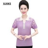 XJXKS Summer Shirt Women Tops Shoulder Short Sleeve Print Vintage Female Knitting T shirt Casual Plus Size Women Tee Shirt Femme