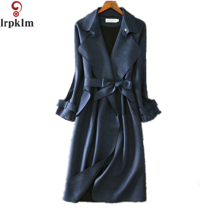 Women Spring   Trench   Coat 2017 Fashion Office Ladies Green Blue Pink Grey Suede   Trench   Coat Women Long   Trench   Coat LZ188