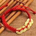 FD4601 new Feng Shui Red String Lucky Coin Charm Bracelet for Good Luck & Wealth