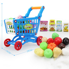 Children's Supermarket Shopping Cart Toys Pretend Toys Children's Trolleys Fruits and Vegetables Food Play Games Educational Toy supermarket cart simulation shopping trolley with fruits and vegetables toys for kids