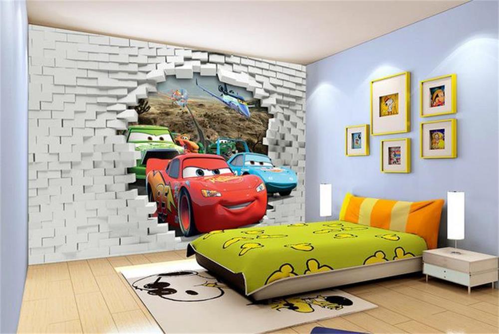 3d Wallpaper Custom Wallpaper Three Car Broken Walls Photo Wallpaper Bedroom Kids Room